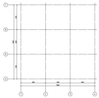Рис. 11. Сетка строительных осей
