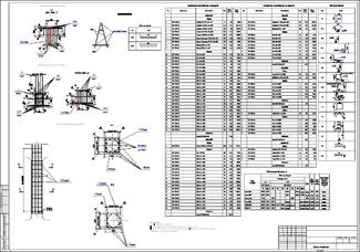Рис. 42. Пример чертежа армирования колонны