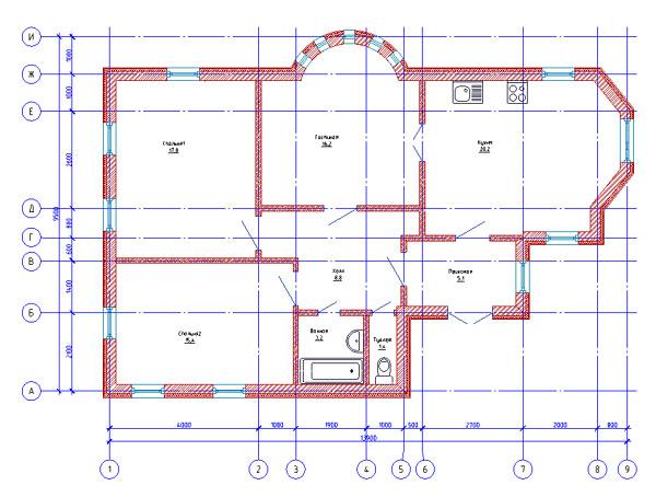 Рис. 4. Пример плана, выполненного в модуле «Архитектура»