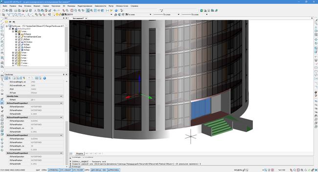 Фрагмент модели «Penthouse» из стандартных примеров ПО Renga (АСКОН), импортированной в среду nanoCAD через формат IFC