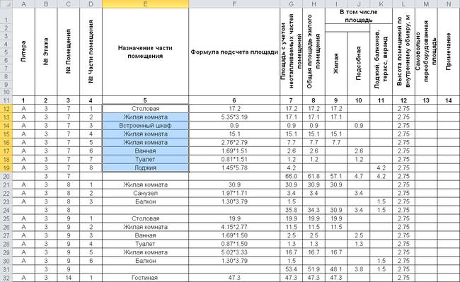 Экспликация, сформированная в MS Excel