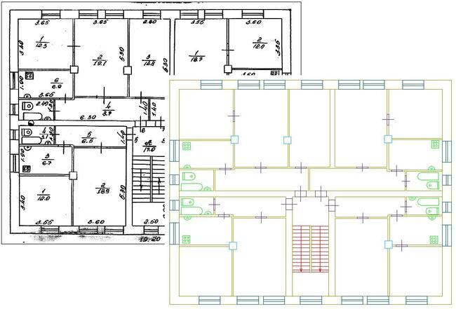 Растровый и распознанный в программе векторный план этажа