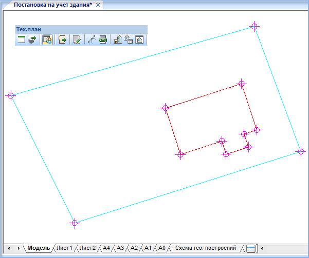 Пример отображения координированного здания и земельного участка