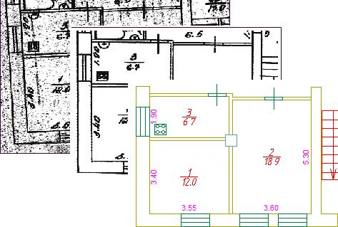 Пример растра до и после обработки инструментами PlanTracer ТехПлан Pro